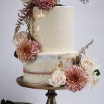 Vintage style semi naked buttercream wedding cake