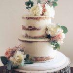 Semi naked 2 tier wedding cake