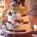 Rustic wedding cake with fresh fruit