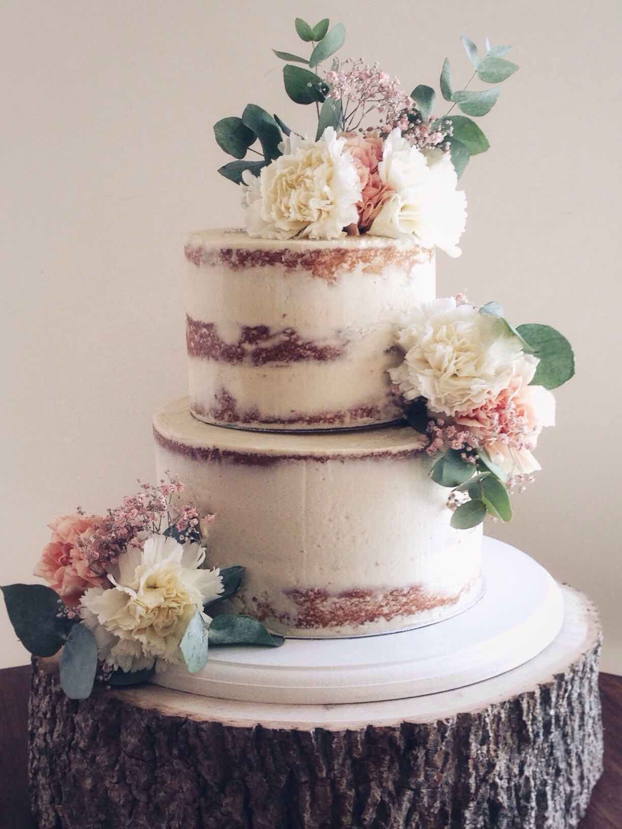 Semi naked 2 tier wedding cake