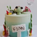 Boys birthday cake under the sea theme with fondant turtle and coral reef