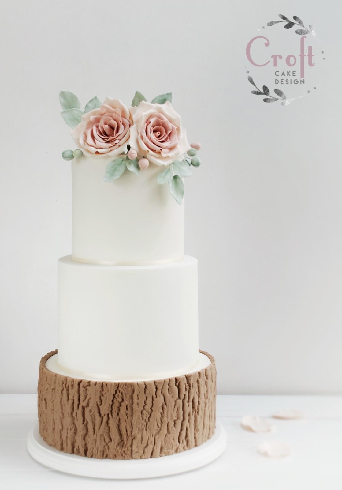 3 tier wedding cake with sugar flowers