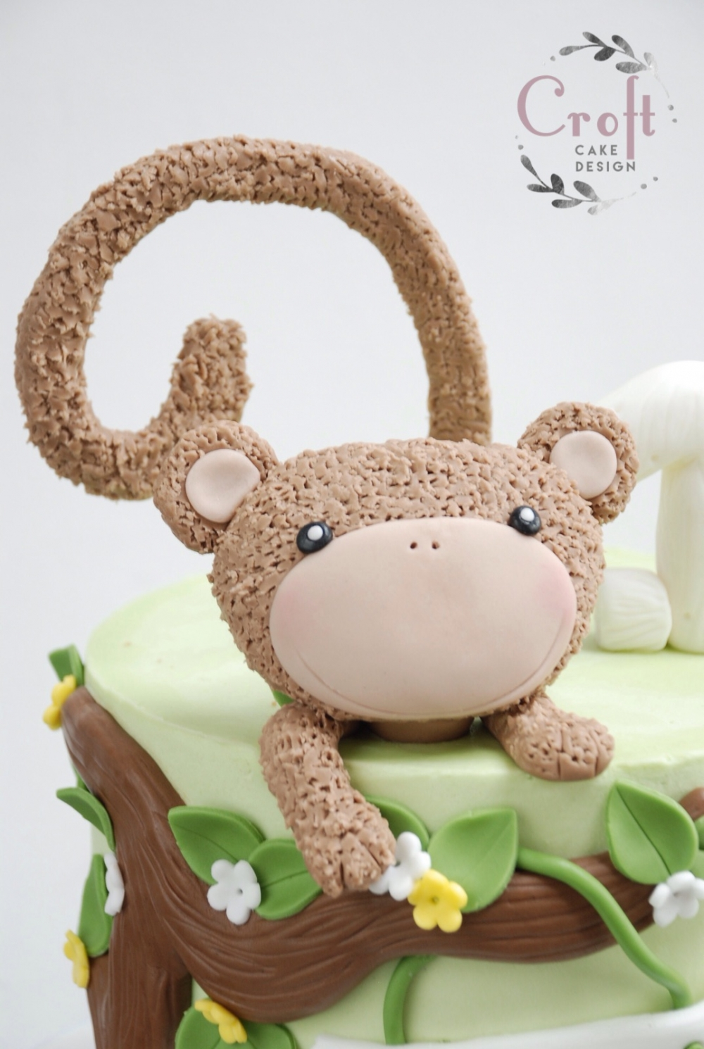 Fondant monkey jungle birthday ckae