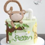 Boys birthday cake jungle theme with fondant monkey