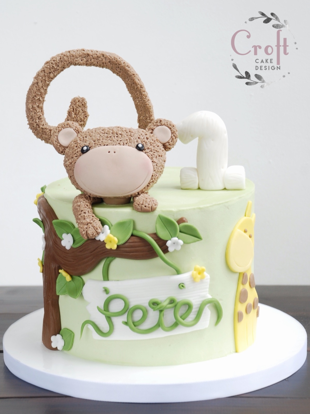 Boys birthday cake jungle theme with fondant monkey