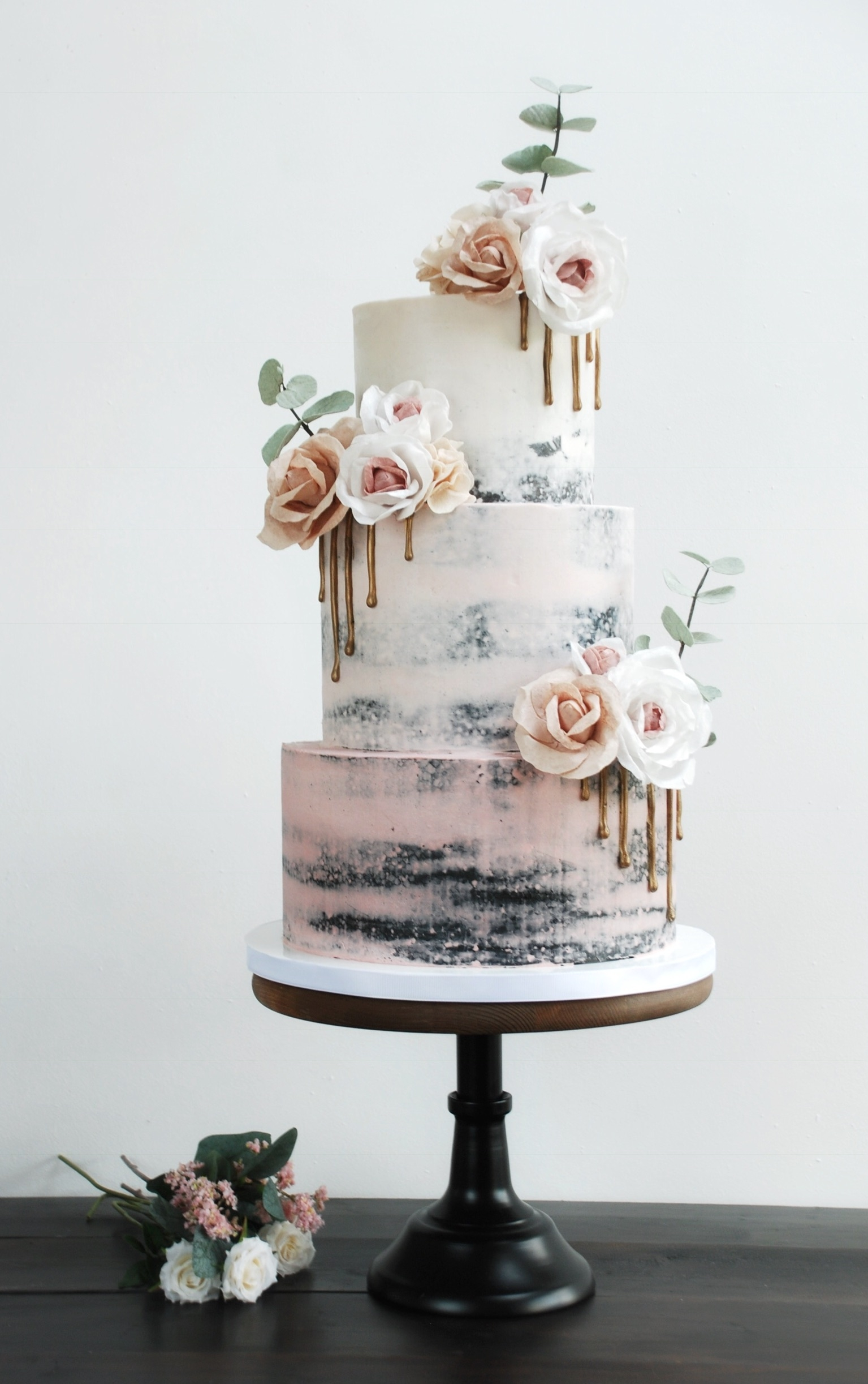 Semi naked wedding cake 3 tier pink ombré and wafer paper flowers