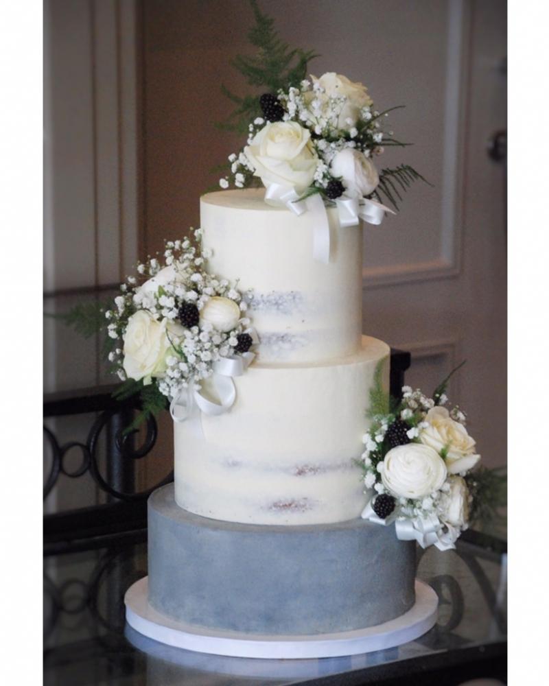 Semi naked wedding cake 3 tier buttercream
