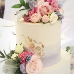 Buttercream ombré 2 tier wedding cake with gold leaf