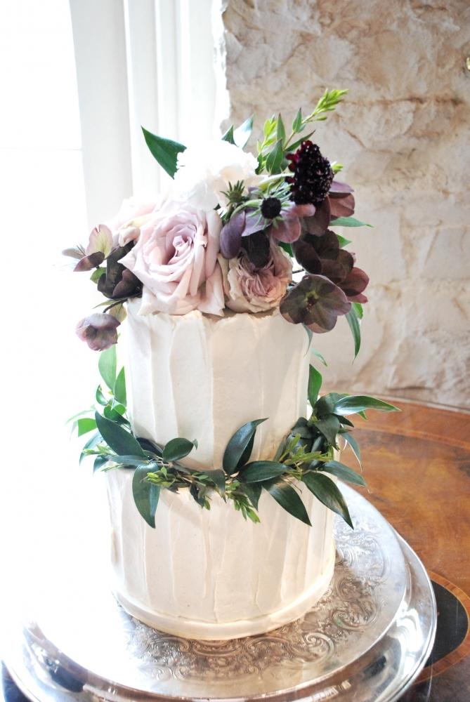 Two tier buttercream textured wedding cake