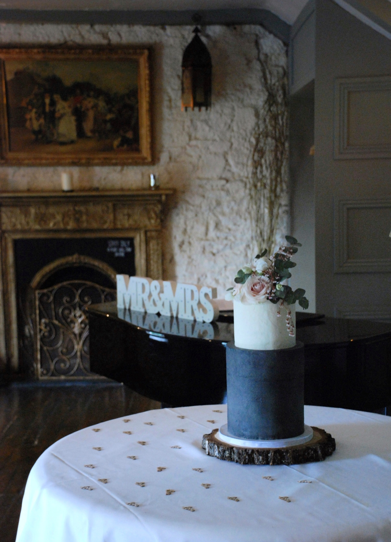 Buttercream wedding cake tall two tier grey and white