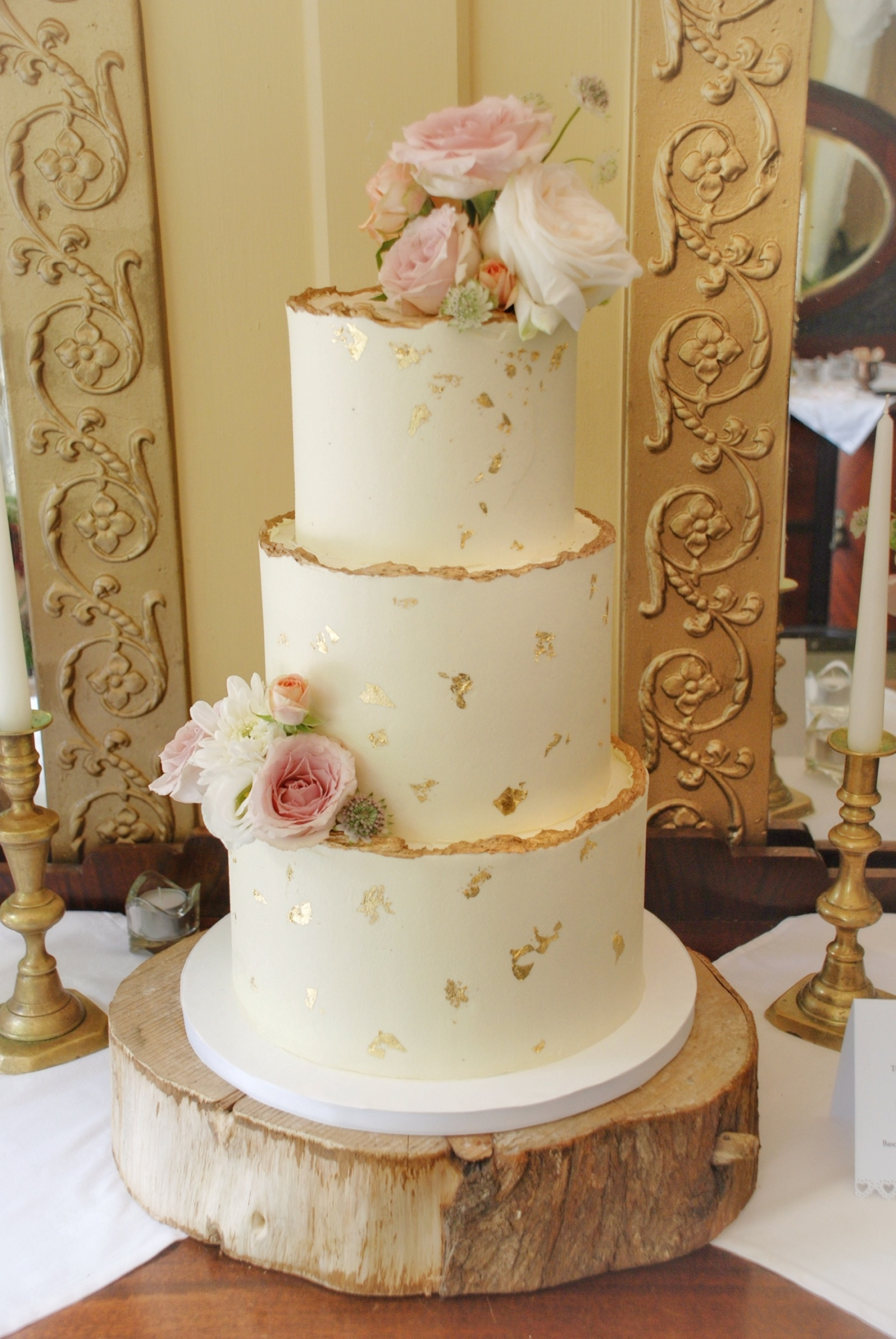 3 tier buttercream wedding cake ivory and gold Ballybeg house