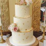 3 tier buttercream wedding cake ivory and gold Ballybeg house