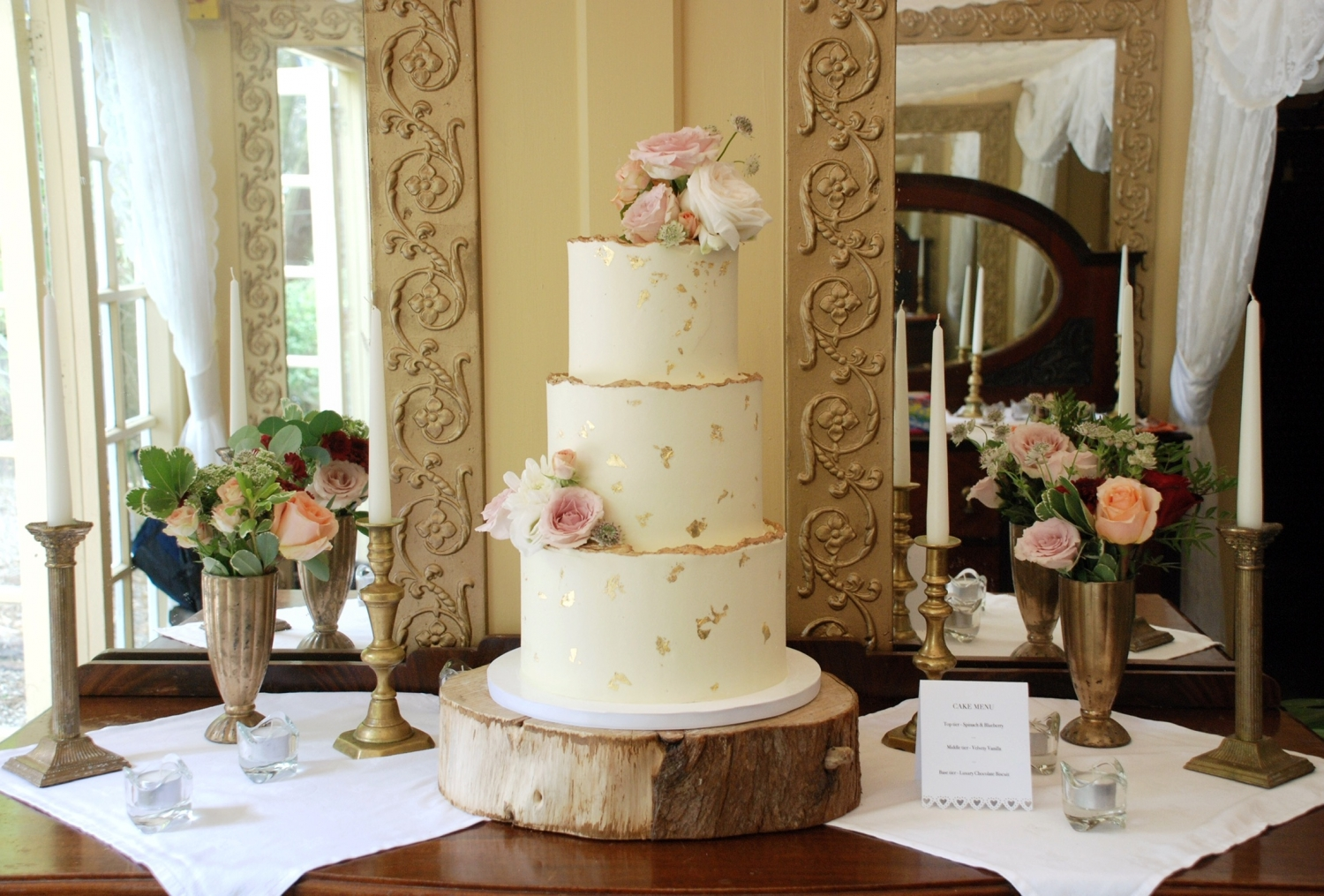 Ivory and gold wedding cake rustic buttercream