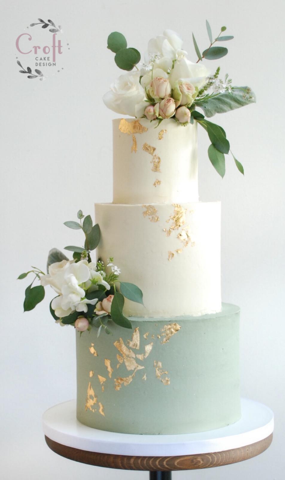 Sage green buttercream wedding cake