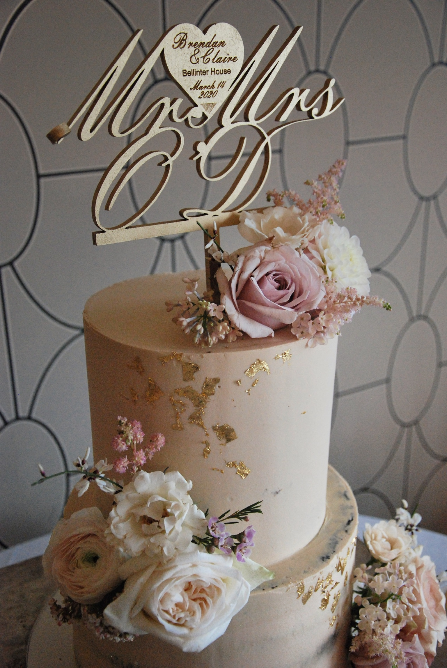 Blush wedding cake two tier