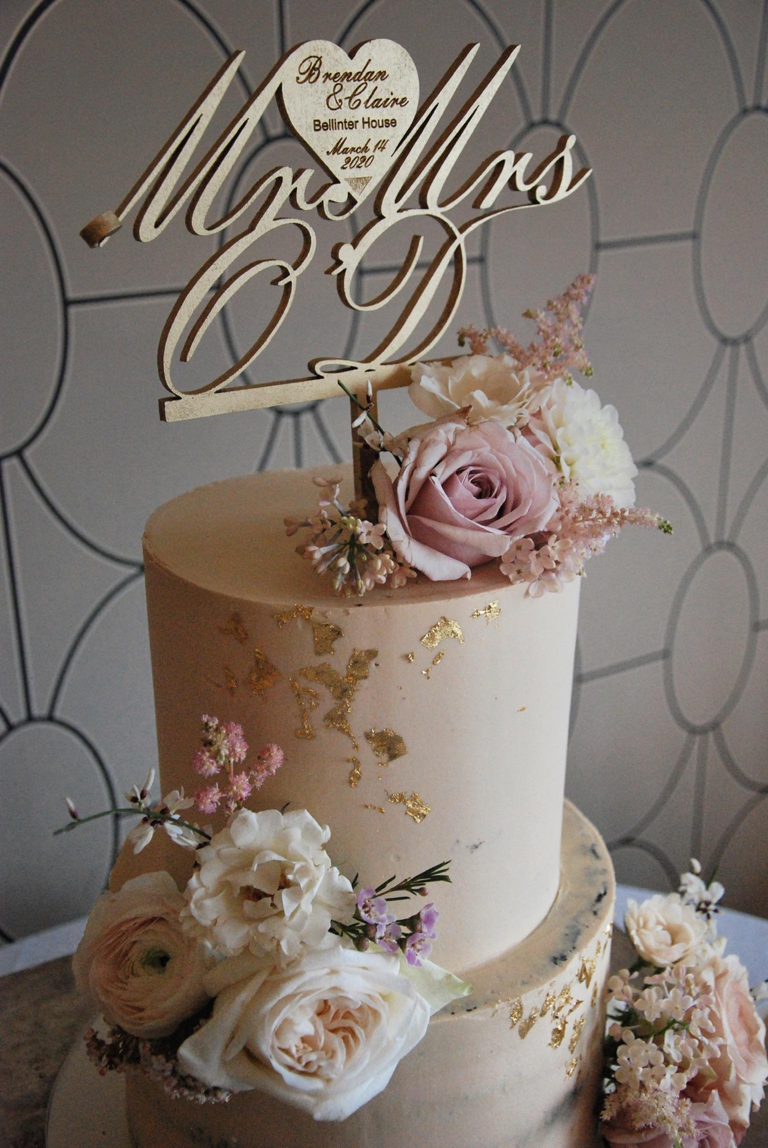 Blush wedding cake two tier