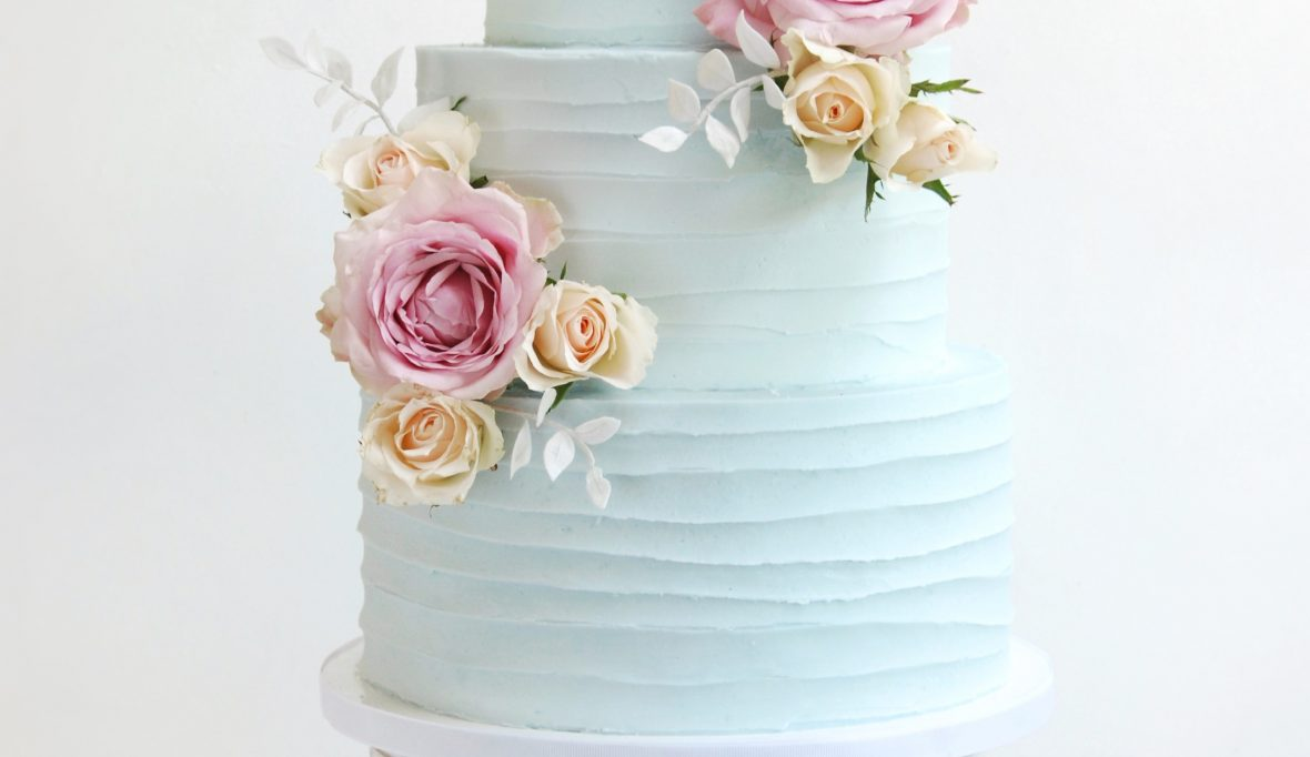 Blue wedding cake buttercream three tier