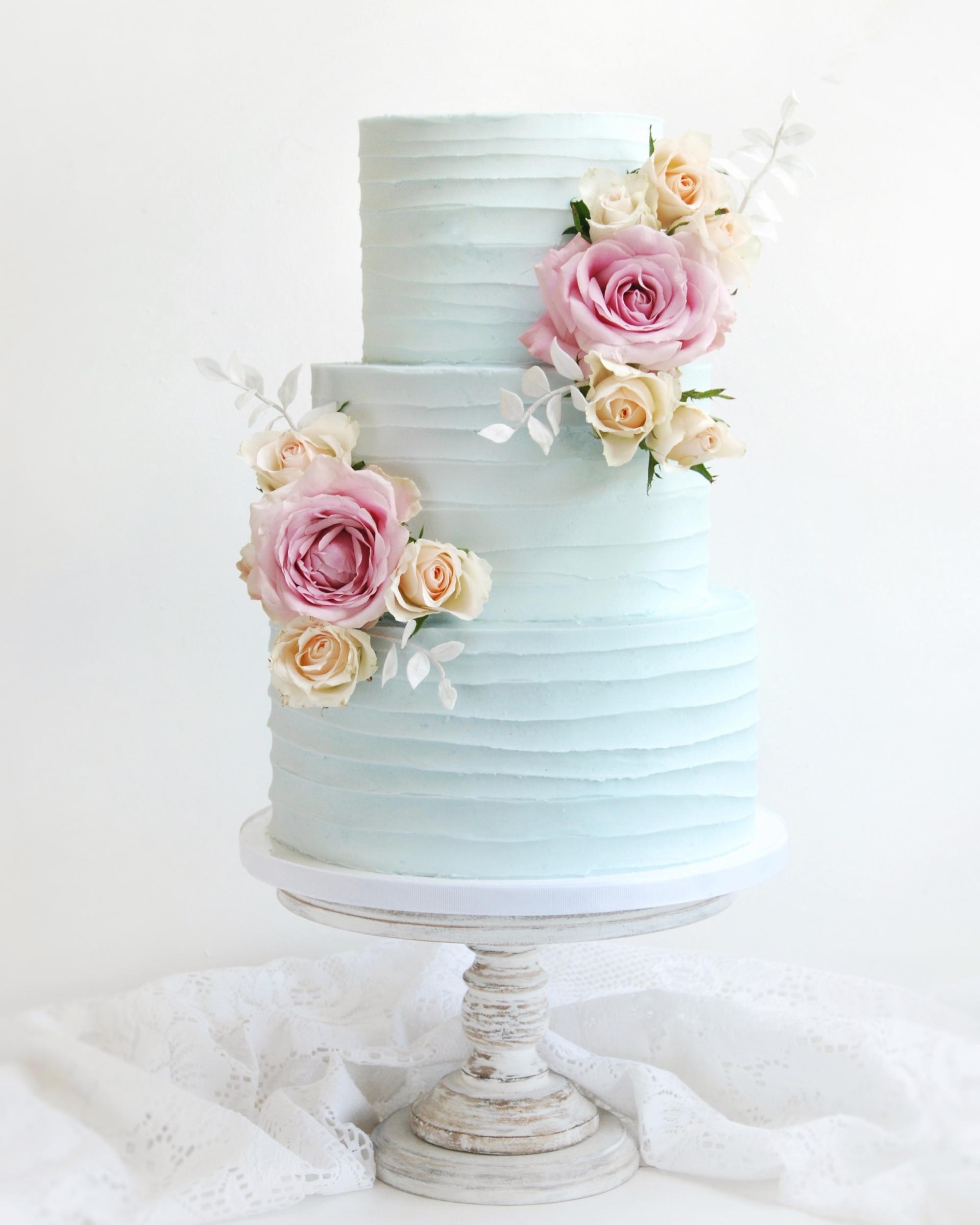 Blue wedding cake buttercream three tier
