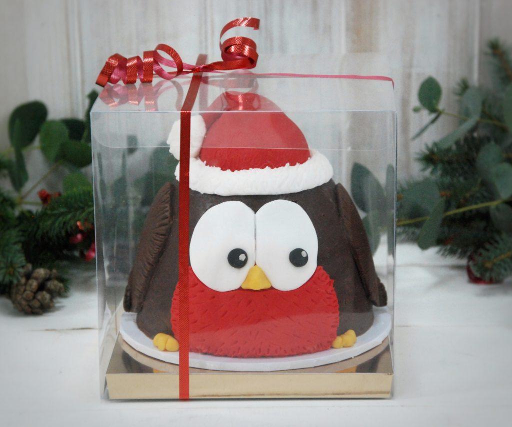 Christmas robin cake boxed