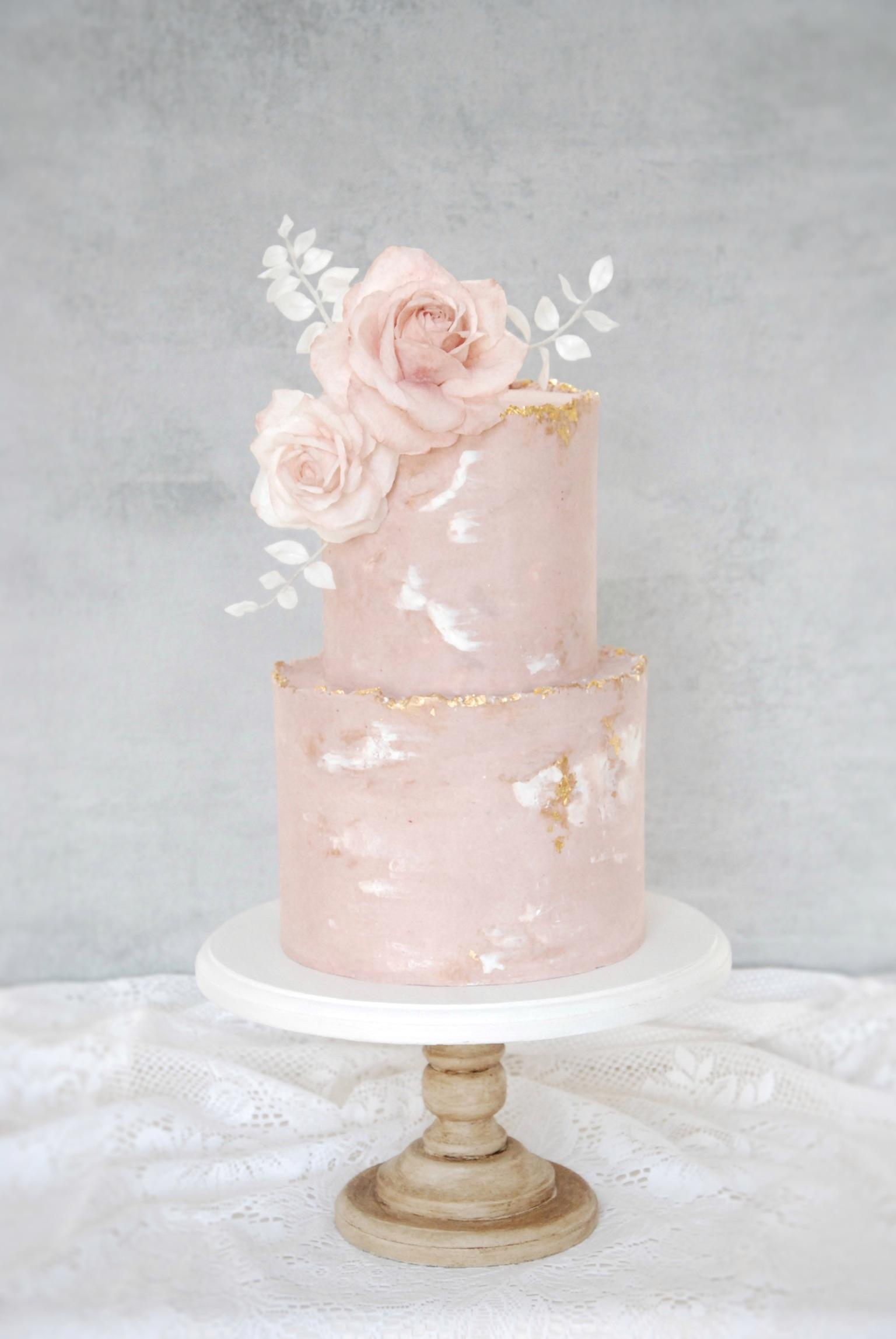 Pink wedding cake blush buttercream two tier