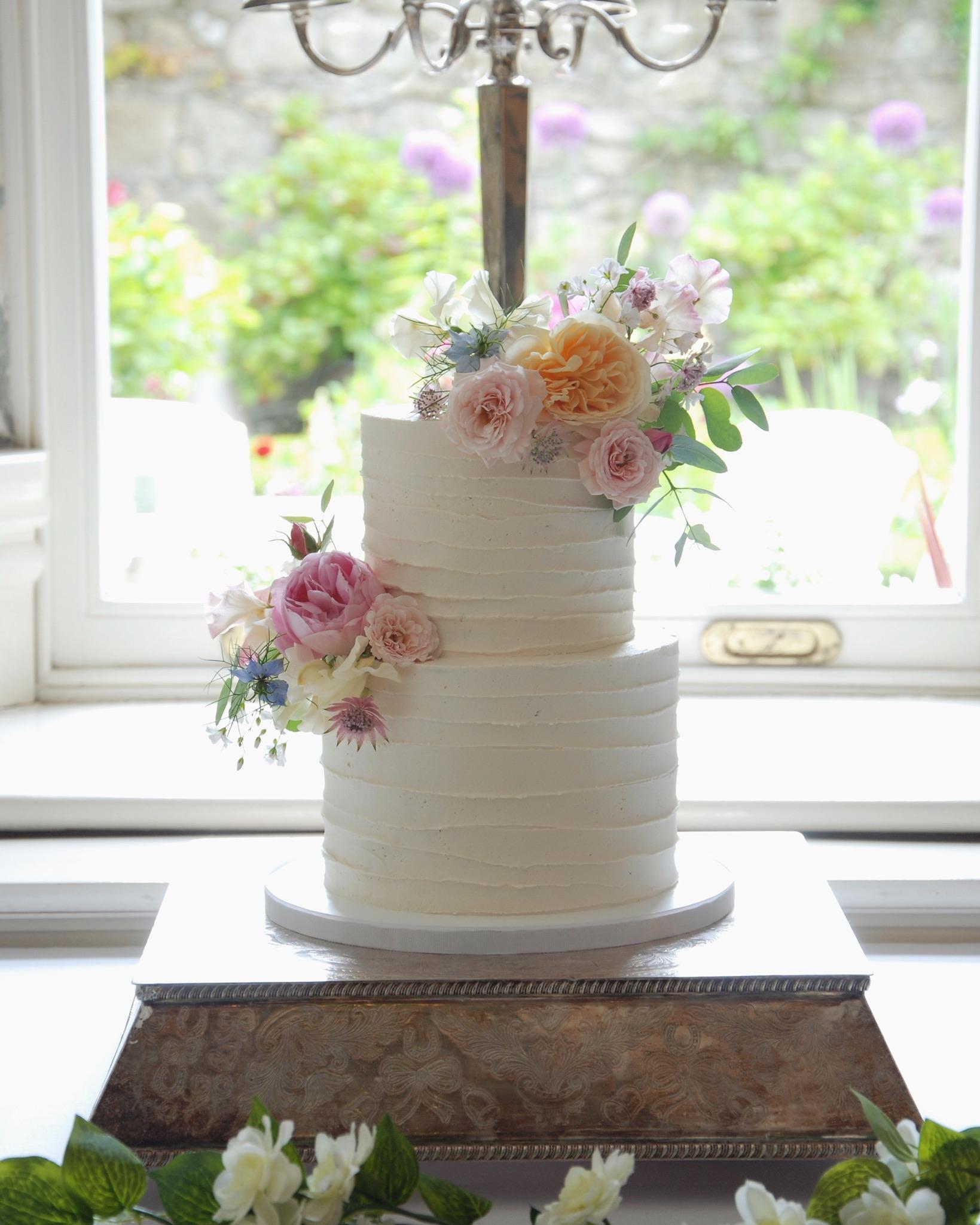 Combed buttercream wedding cake